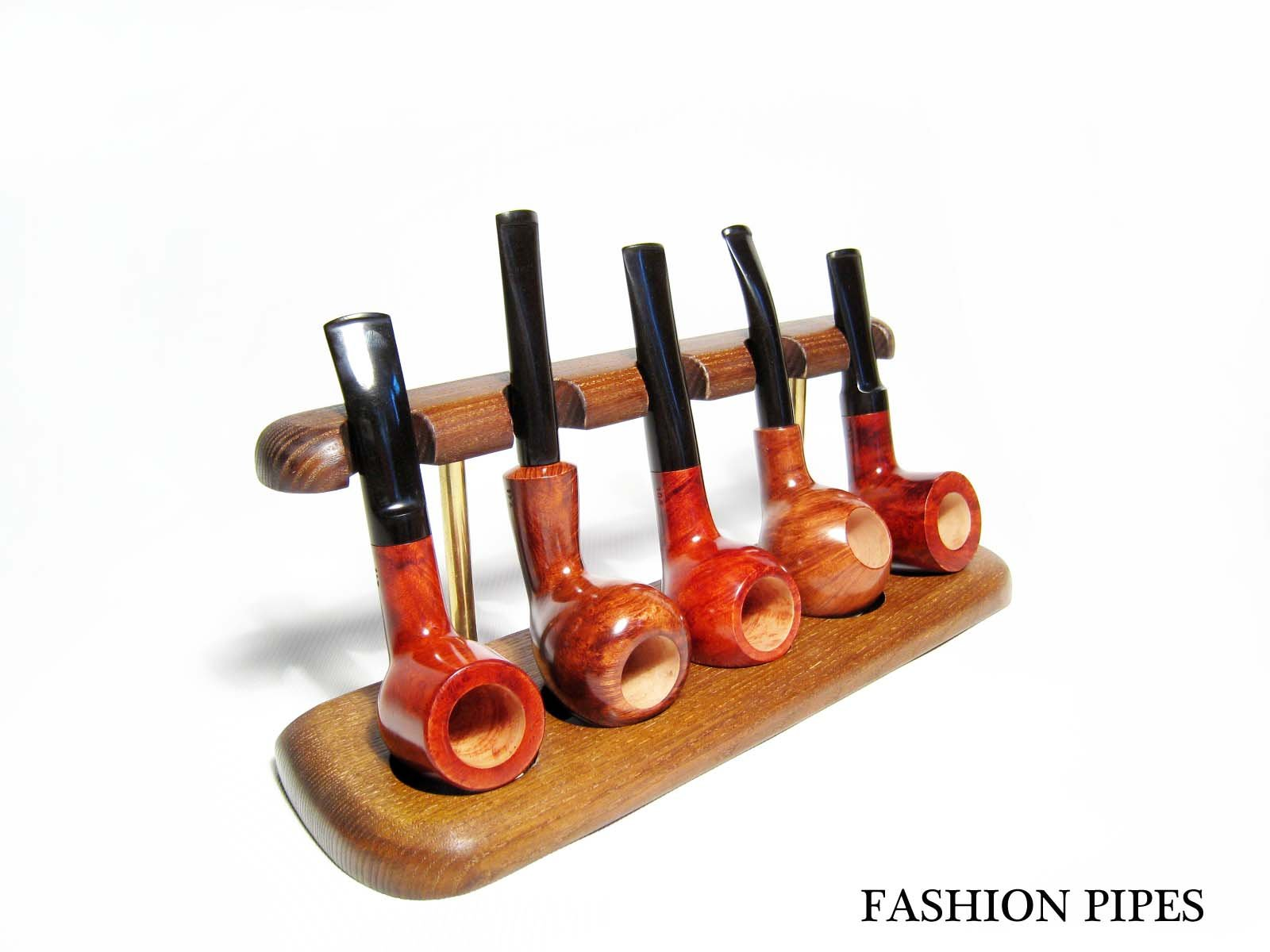 New Wooden Pipe Stand Rack Holder for 5 Tobacco Pipes. Handcrafted (5)
