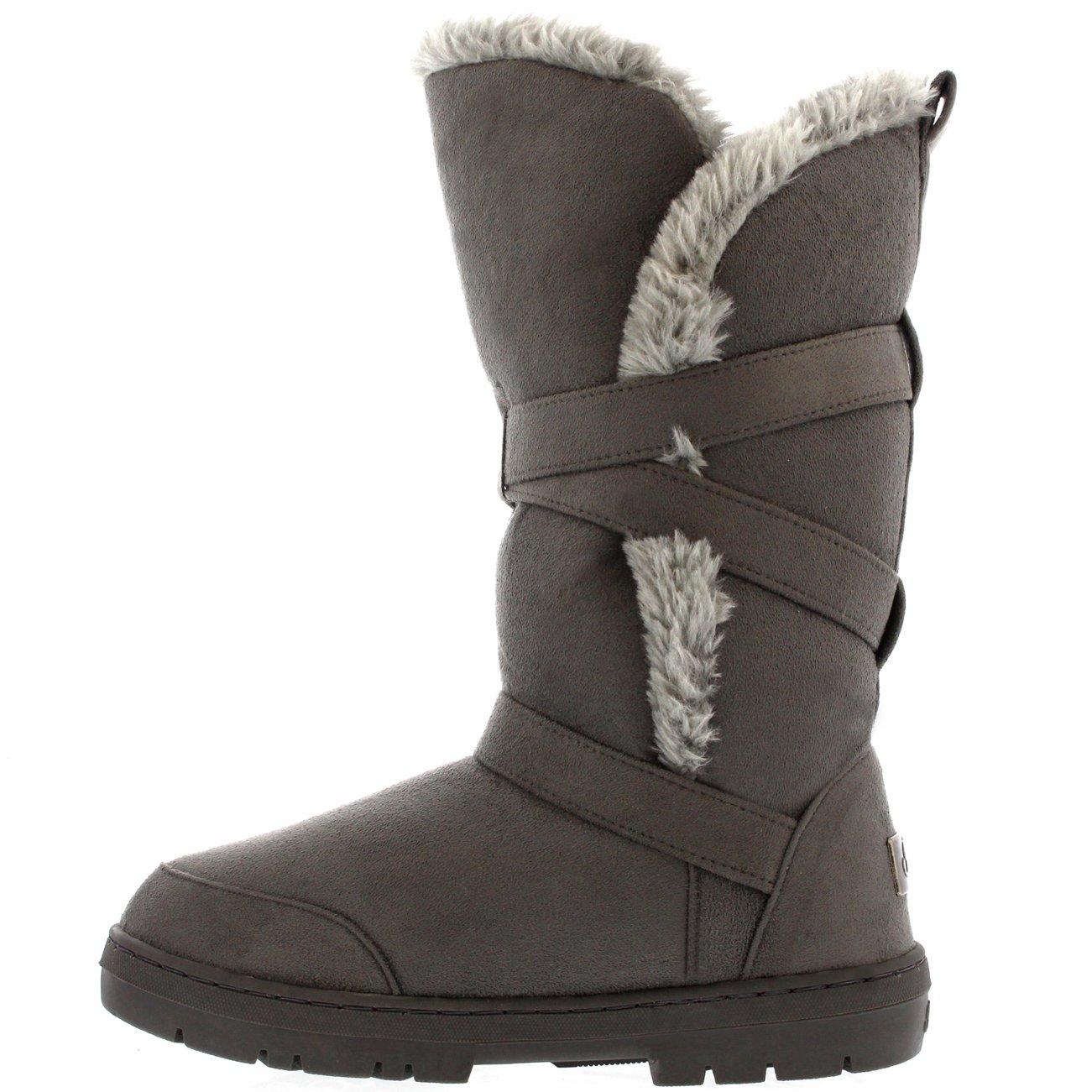 bb3eb0ef4f2456 Damen Schuhe Triplet Schnalle Fell Schnee Regen Stiefel Winter Fur Boots   Amazon.de  Schuhe   Handtaschen