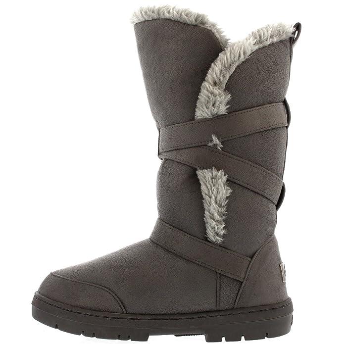 Womens Triplet Buckle Tall Waterproof Winter Rain Snow Boots: Amazon.co.uk:  Shoes & Bags
