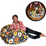 """EXTRA LARGE - Stuffed Animal Storage Bean Bag Chair - Premium Cotton Canvas - Clean up the Room and Put Those Critters to Work for You! - By Creative QT (38"""", Grey Floral)"""