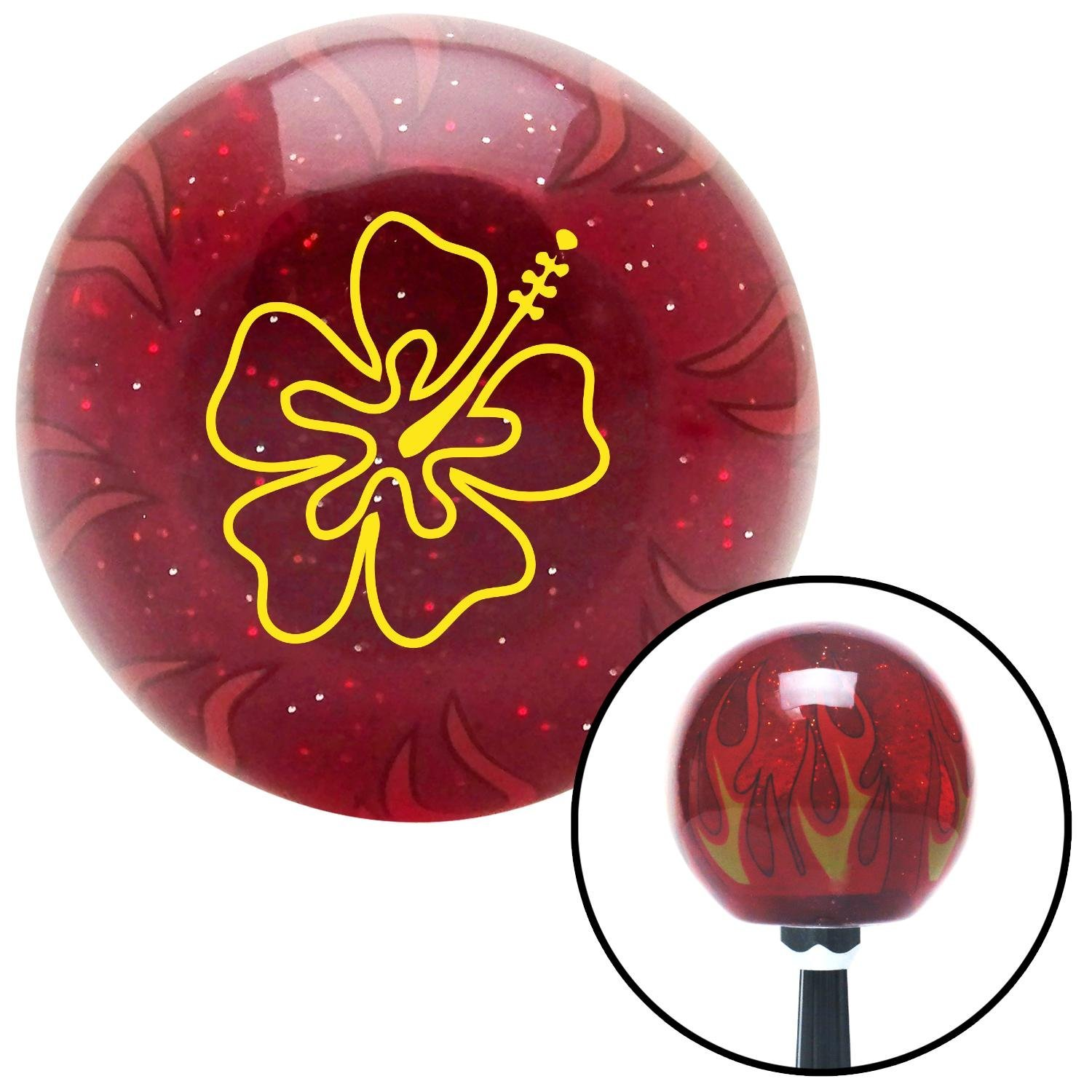 American Shifter 240663 Red Flame Metal Flake Shift Knob with M16 x 1.5 Insert Yellow Hawaiian Flower #8