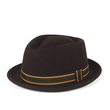 1336ff1794c Stylish Brown Wool Pork Pie Hat Waterproof   Crushable