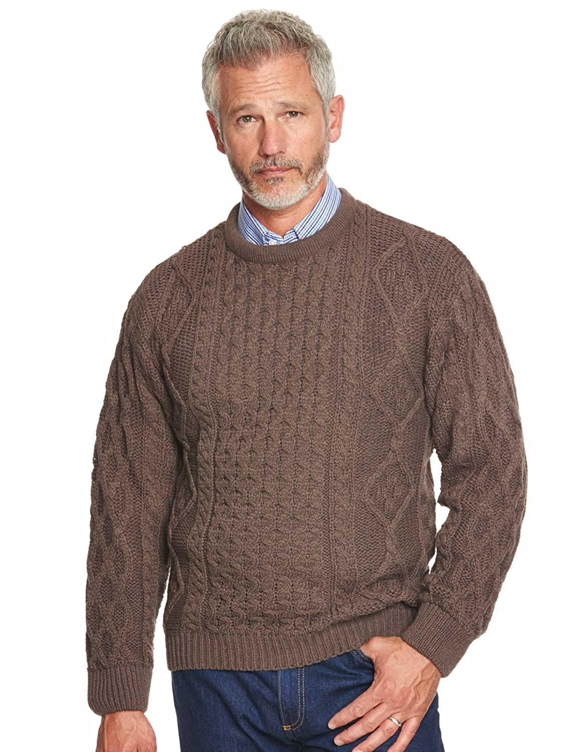Men's Vintage Sweaters – 1920s to 1960s Retro Jumpers Mens Warm Aran Jumper Cable Sweater �32.00 AT vintagedancer.com