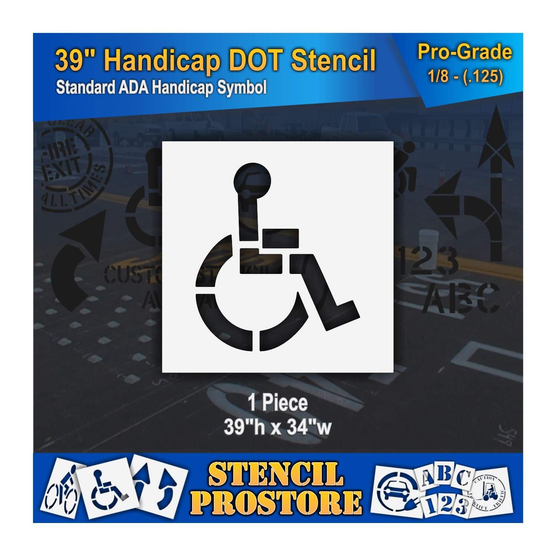 Pavement Stencils - 39 in - Handicap - ADA Stencil - 39'' x 34'' x 1/8'' (128 mil) - Pro-Grade