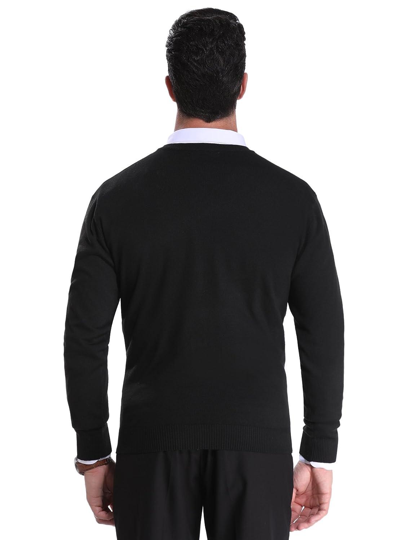 Sykooria Herren Pullover V-Ausschnitt Regular Fit Baumwolle M/änner Strickpullover Langram Jumper