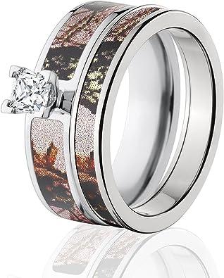 Amazon Com Mossy Oak Camo Bridal Set Camo Wedding Rings Pink