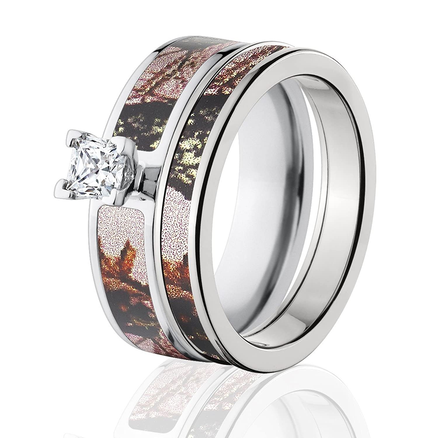 mossy oak camo bridal set camo wedding rings pink