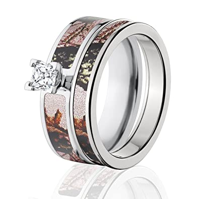 mossy oak camo bridal set camo wedding rings pink break up camo rings - Mossy Oak Wedding Rings