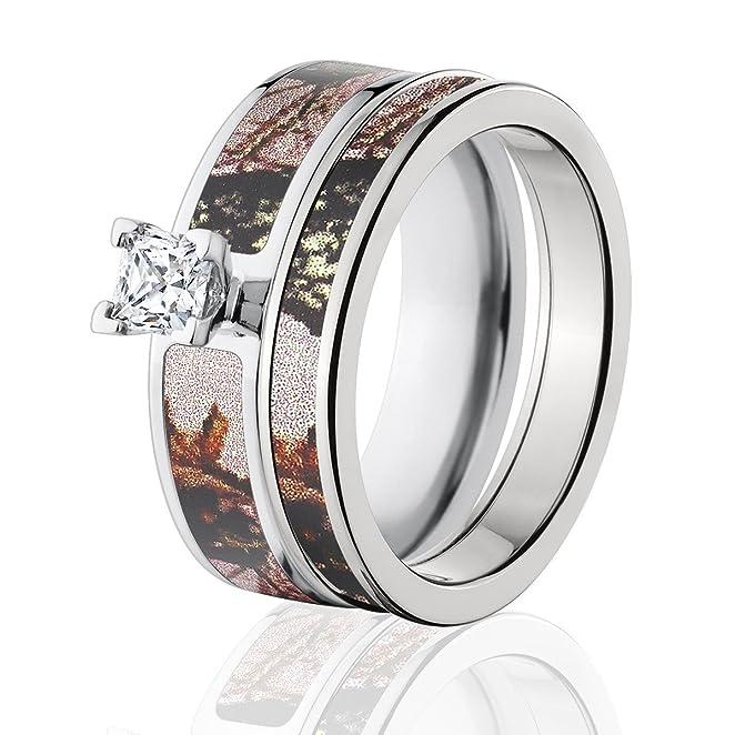 Amazoncom Mossy Oak Camo Bridal Set Camo Wedding Rings Pink