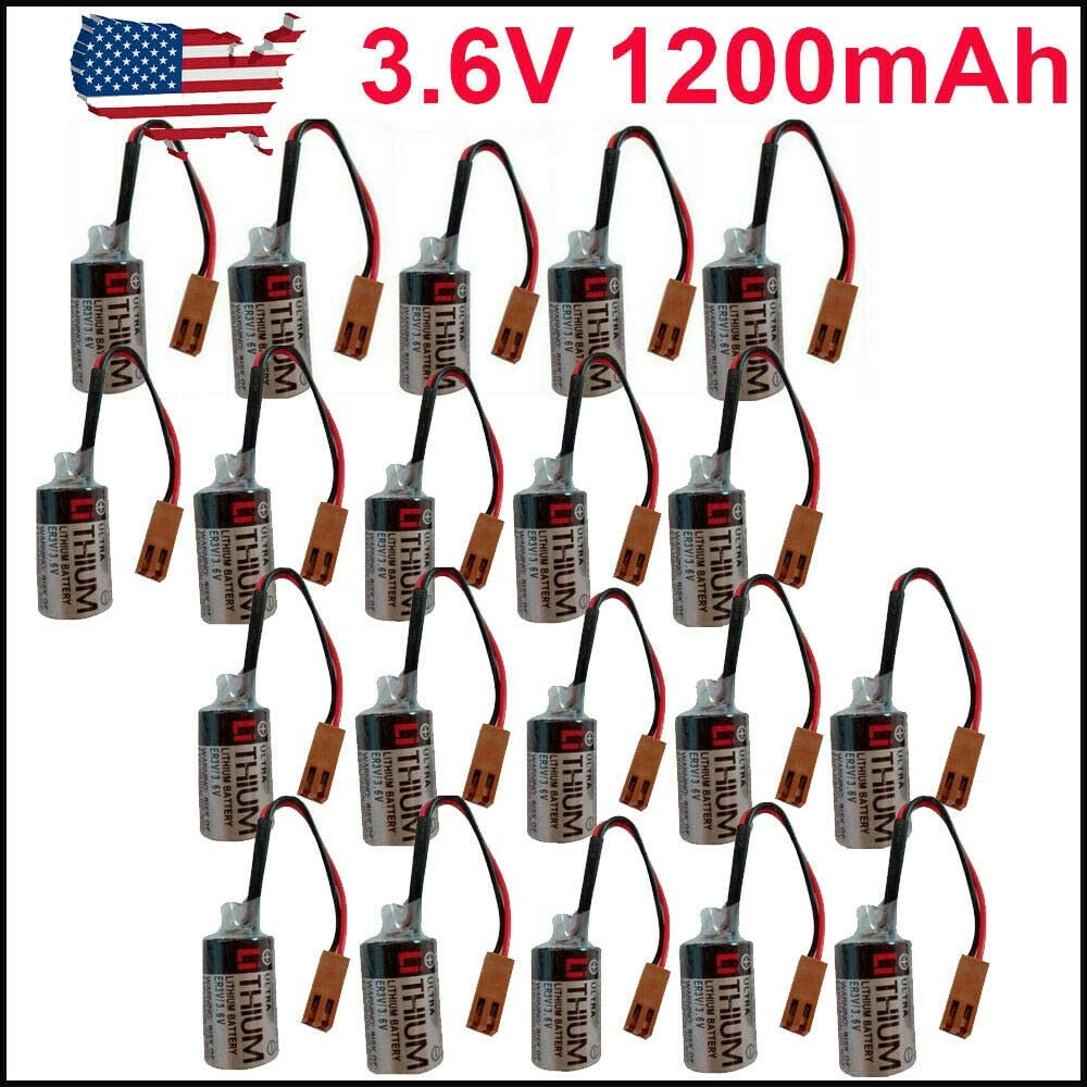 Pack of 5 3.6V 1200mAh ER3V PLC Li Battery for Omron Toshiba Instrument Power US Stock
