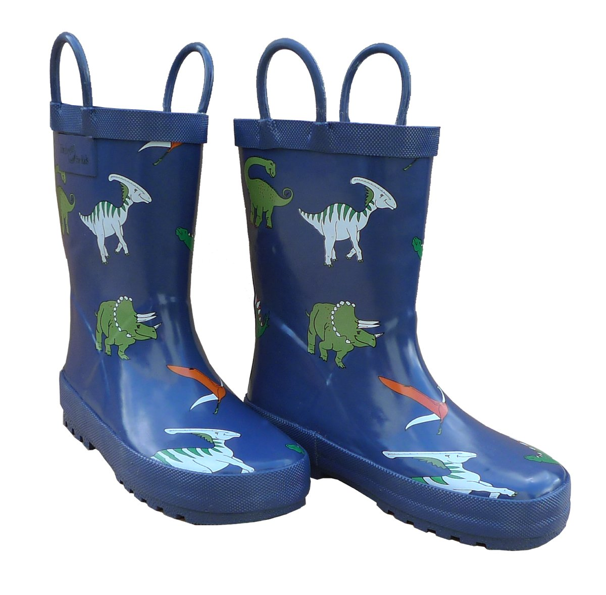 Foxfire For Kids Dark Blue with Dinosaurs Rubber Boots Size 1