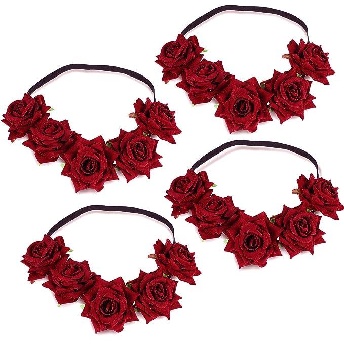 WILLBOND 4 Pieces Mexican Headband Rose Flower