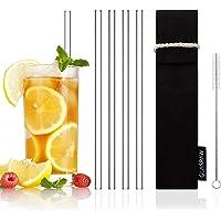 GLASRAW® Glas Strohhalme [23 cm] ♻ Wiederverwendbare Trinkhalme aus Glas inkl. Tasche aus Baumwolle & Bürste | Cocktail/Smoothie: nachhaltig, gesund + plastikfrei