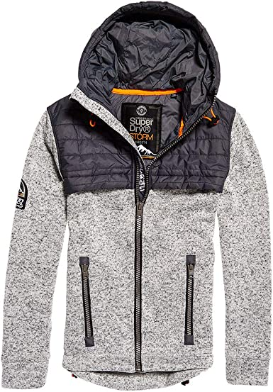 Superdry Storm Quilted Hybrid Sweat Zip Homme Gris Taille S