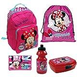 Minnie Maus Kindergarten Set - Rucksack / Turnbeutel / Geldbeutel / Brotdose / Trinkflasche