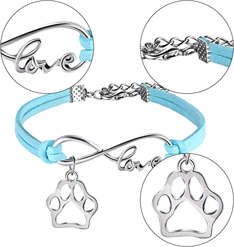 15 Pack Puppy Paw Print Paw Bracelets for Kids Adult Adjustable Charm Bangle Bracelets Puppy Dog Cat Animal Themed Party Favors Brown, Blue, White, Purple, Black