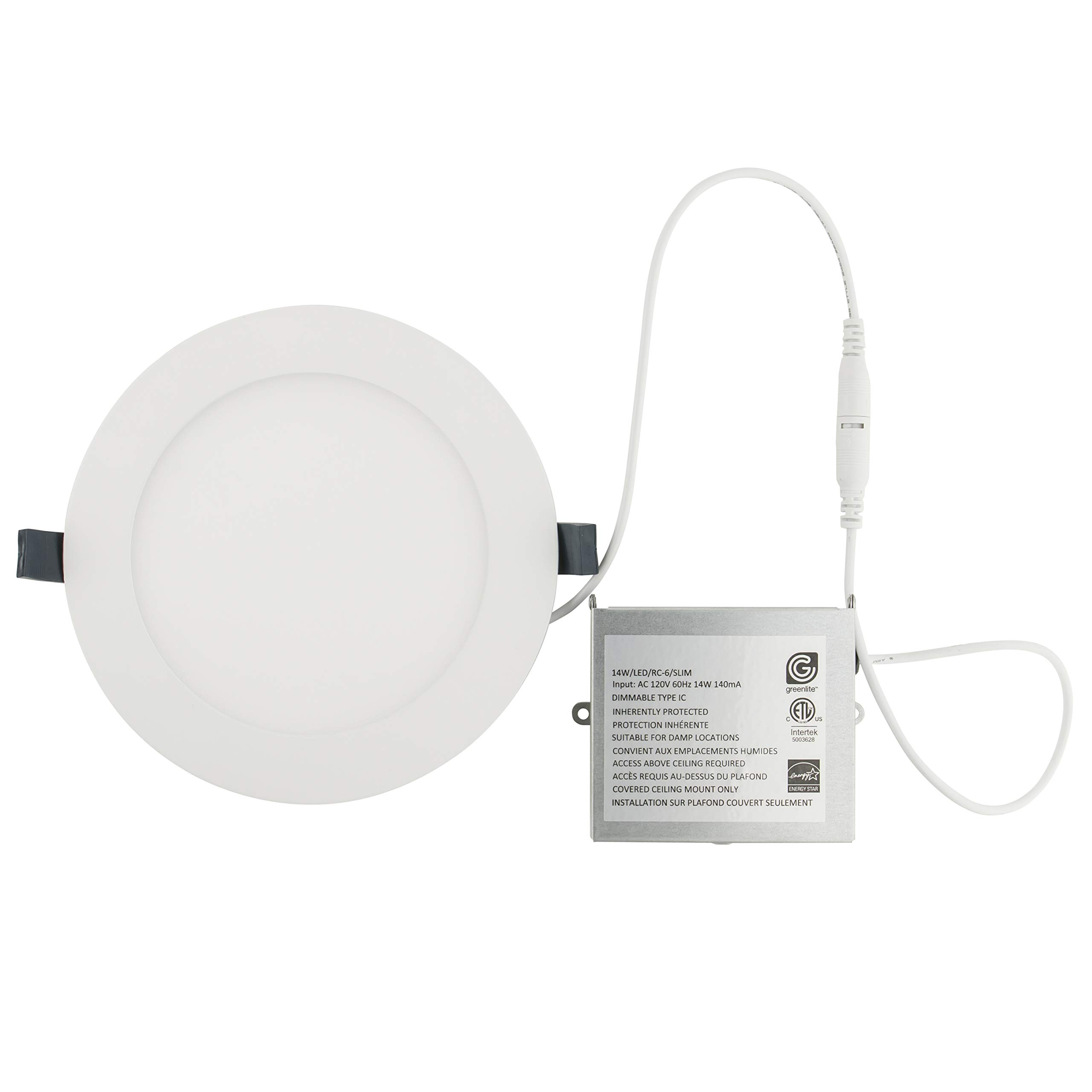 LED Recessed Light Fixture 6 Inch Round with Driver, 3000K Bright White, 14W, 1000 Lumens, 120V, Low Profile, Dimmable, Energy Star and IC Rated, White Trim, 1 Pack