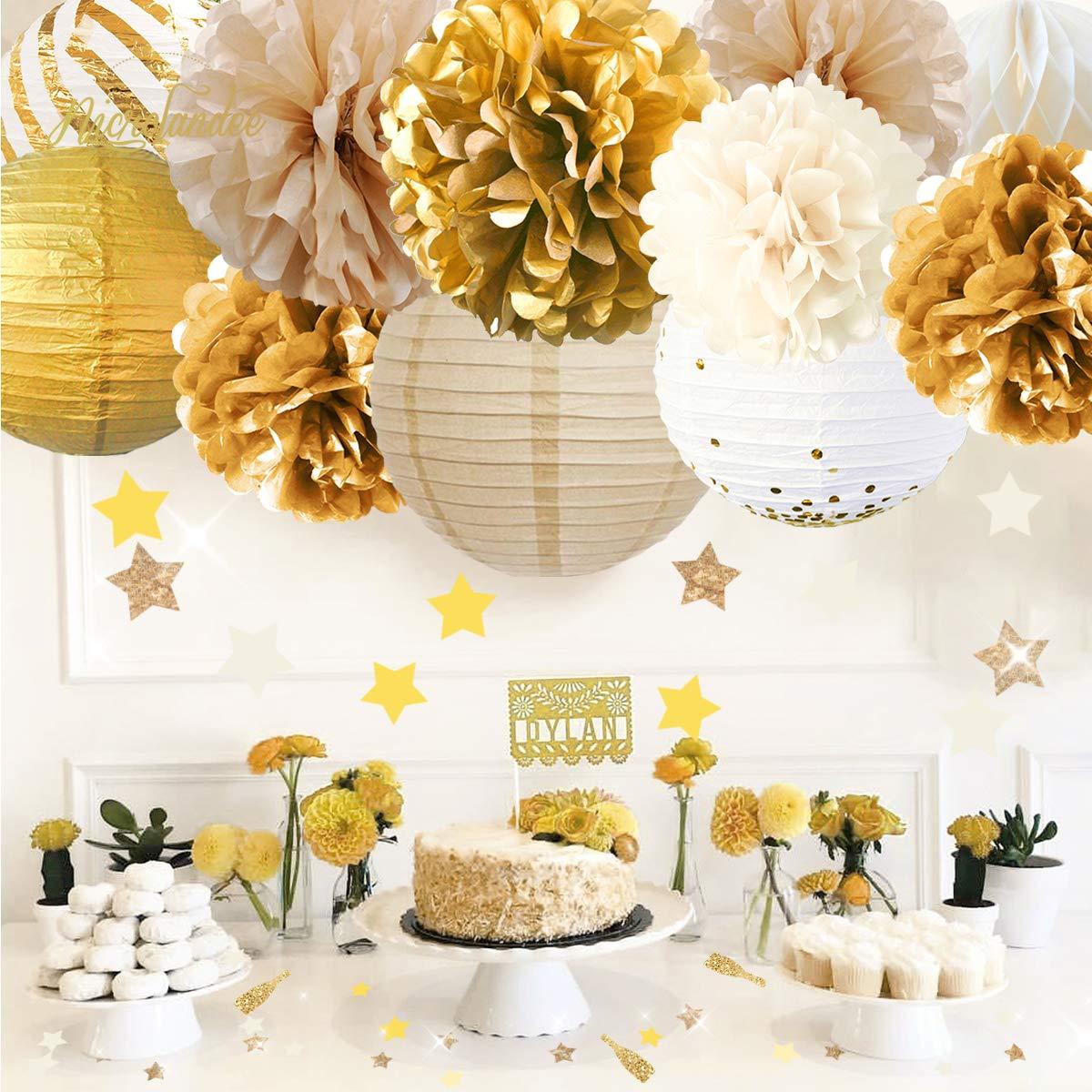 30 g NICROLANDEE Decoraci/ón de fiesta con pompones de papel con purpurina cumplea/ños suministros para bodas baby shower Elefante Gery Rosa despedidas de soltera
