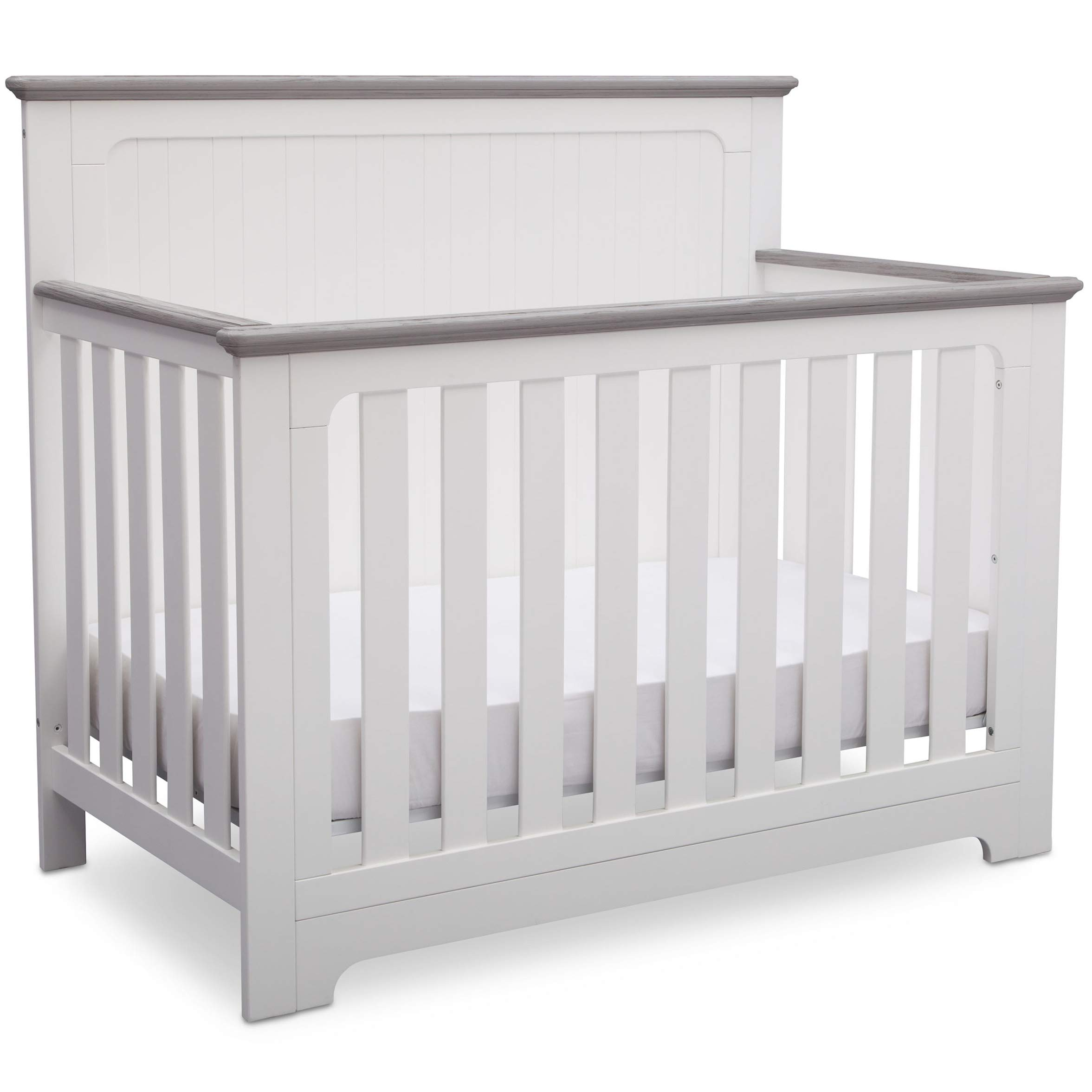 Delta Children Providence 4-in-1 Convertible Baby Crib, Bianca White with Rustic Haze by Delta Children
