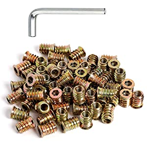 """50pcs 1/4-20 Threaded Insert for Wood Furniture Insert Nuts Screw in Nuts 3/5"""" Length"""