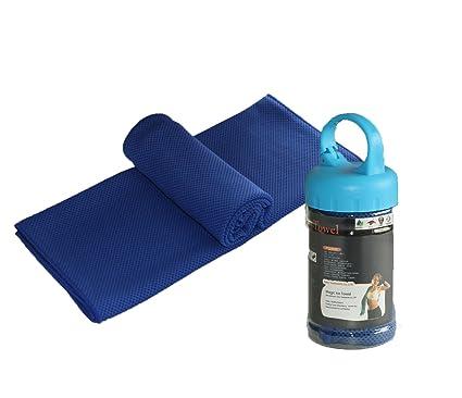 Verano Heatstroke hielo refrigeración toalla Deportes al aire libre Toalla Fría Hielo seda toalla barriles doble