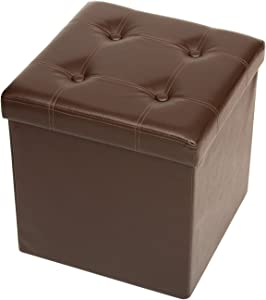 Fresh Home Elements Tufted Storage Ottoman, Folding Collapsible Space Saving Design, Rich Faux Leather, Brown