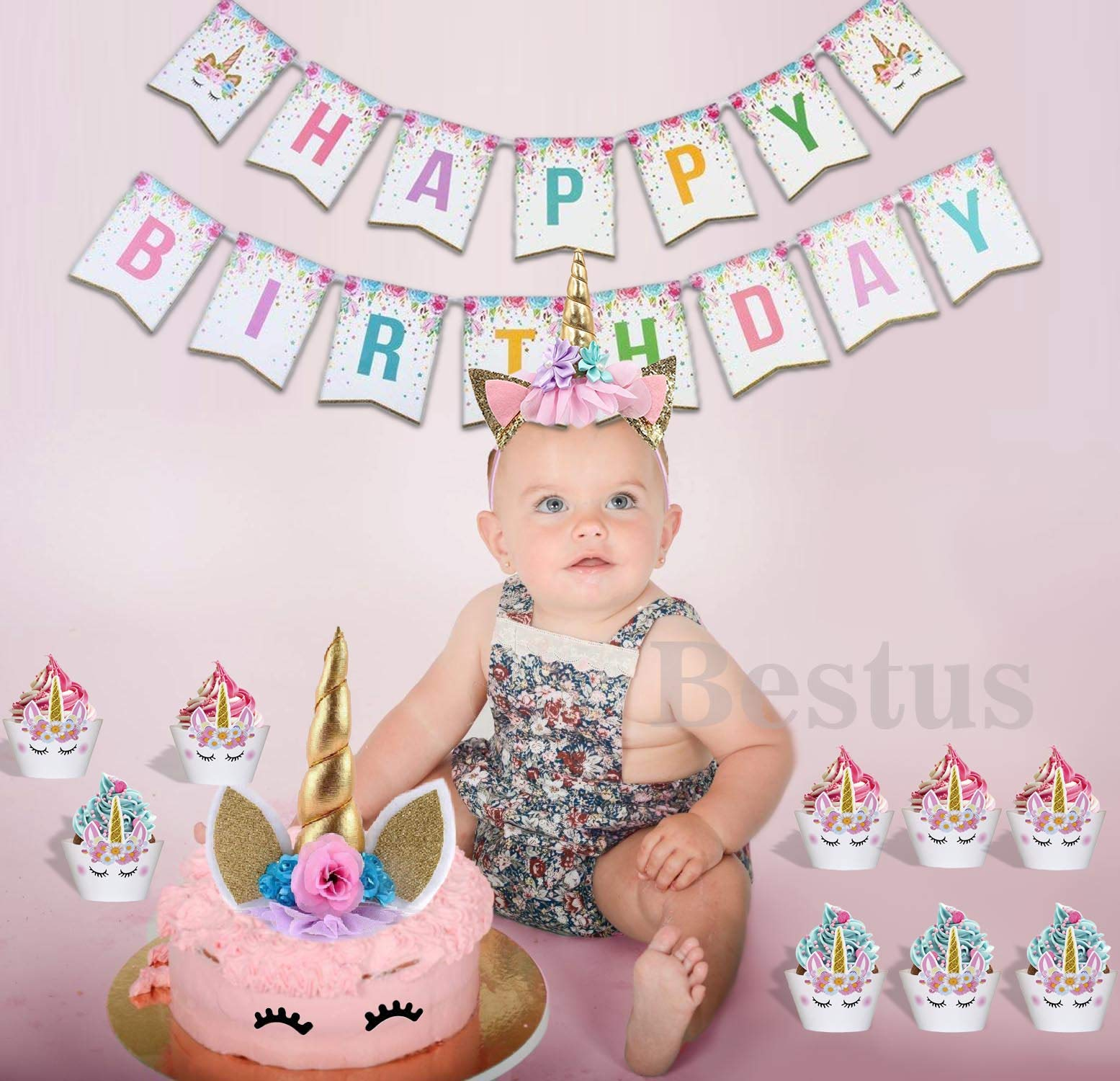 Bestus (29 Pack) Unicorn Cake Topper with Eyelashes, Headband, Cupcake Wrappers and Happy Birthday Banner. / Unicorn… 8