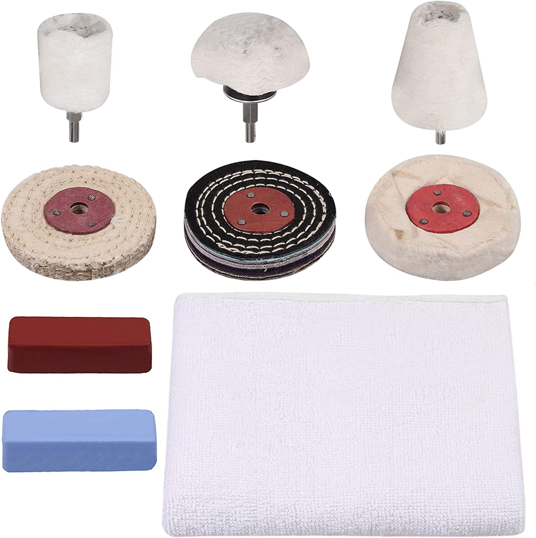 Fugen 9PCS Polishing Buffing Kit Polishing Pads Wheel for Drill with Polishing Buffing Wheel Plastics Polishing Pads Polishing Compound Clean Cloth Used on Metal Ceramics ect Wood Jewelry