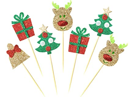 28 pack christmas cupcake toppers picks glitter cake toppers for home party decor christmas - Christmas Toppers