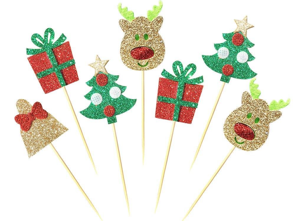 28-pack Christmas Cupcake Toppers Picks, Glitter Cake toppers for Home Party Decor Christmas Party Supplies Favors