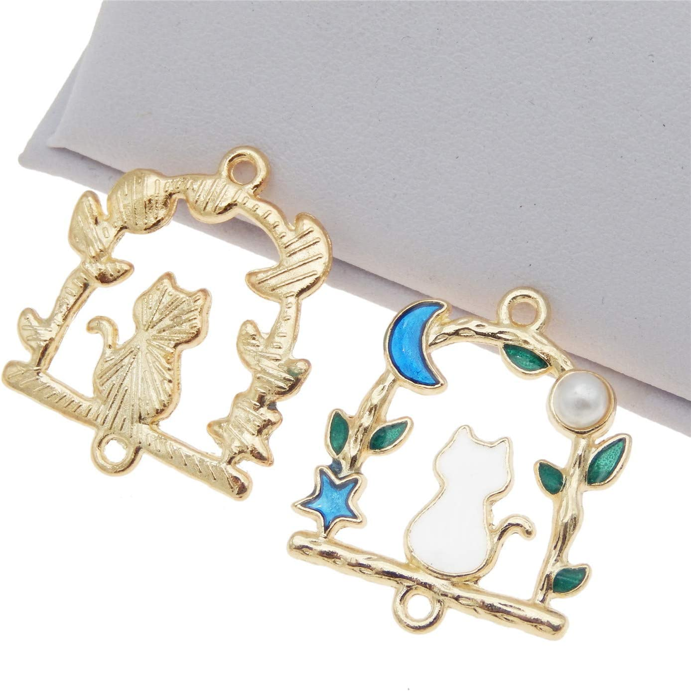 JJG 20pcs Moon Star Cat Enamel Pendants Charms Gold Plated Ornaments for Necklace Bracelet Earring DIY Jewellery Making Supplies