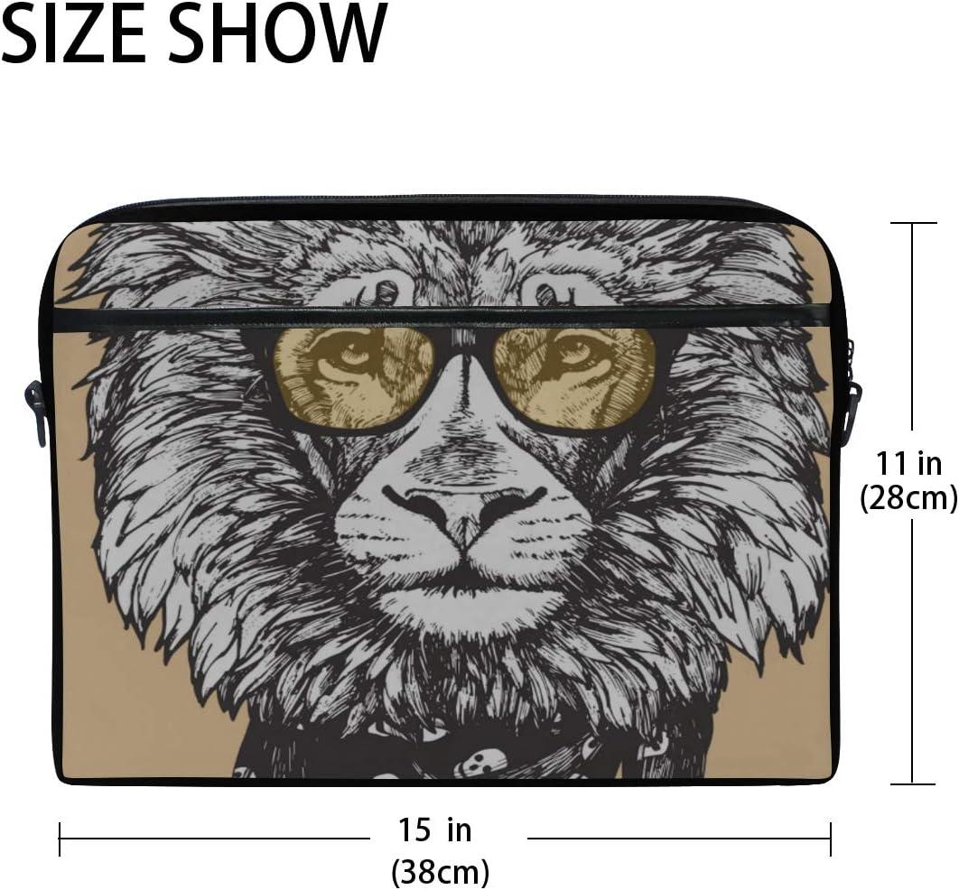 Laptop Bag Portrait Lion Glasses Scarf Handdrawn 15-15.4 Inch Laptop Case Briefcase Messenger Shoulder Bag for Men Women College Students Business