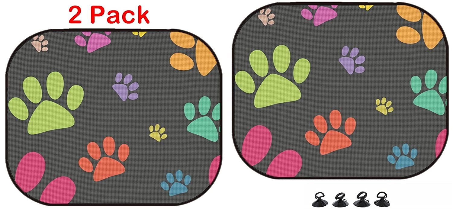 Luxlady Car Sun Shade Protector Block Damaging UV Rays Sunlight Heat for All Vehicles, 2 Pack Image ID: 30067994 Funny Animal Footprint Seamless Pattern Luxlady Inc.