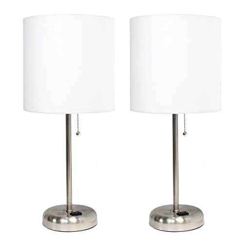 Brushed Steel Stick Lamp with Charging Outlet and White Fabric Shade 2 Pack Set