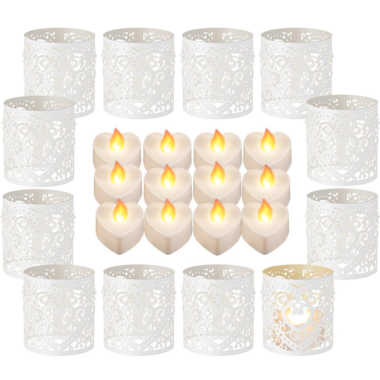 Tealight Votivo Avvolge Laser Tagliato Carta Portacandela Avvolge per LED Batteria Tealight Candele per San Valentino Compleanno Nozze Festa Decorazione (Stile A) Sumind