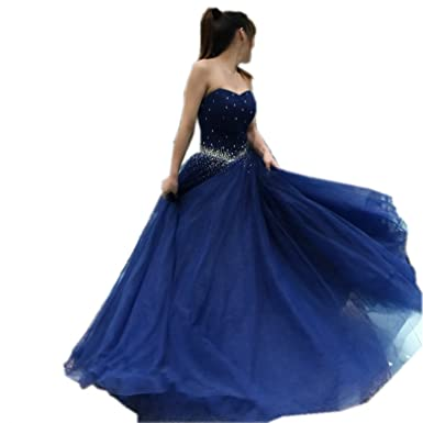 Angelsbridep Beading Sweetheart Tulle Quinceanera Dresses N-Blue Party Prom Dresses at Amazon Womens Clothing store: