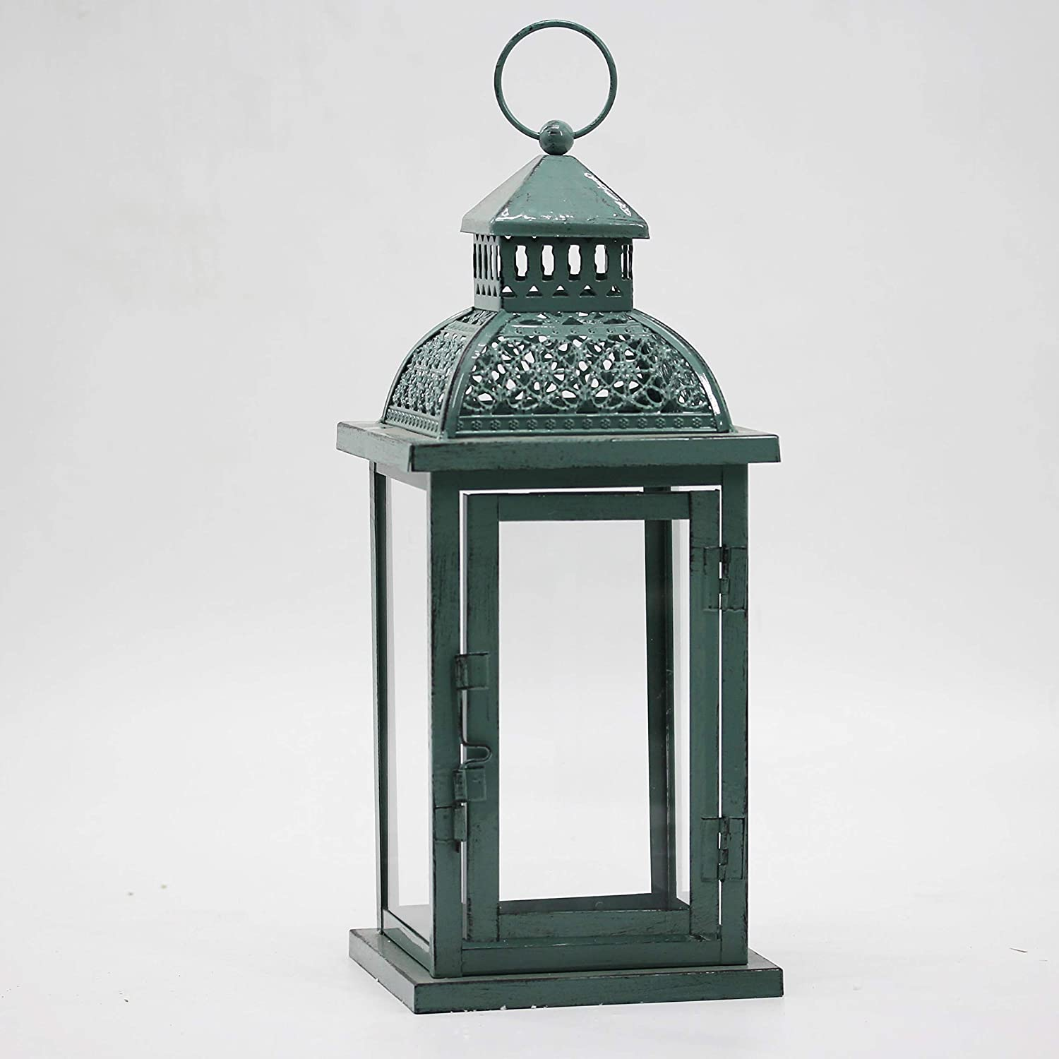 Decorative Candle Lantern, 13.3-inch Antique Green Home Decoration Metal Lantern for Wedding Patio, Party,Outdoor Decorative,Indoor Hanging Candle Holders, Garden Decor Lantern (Vintage Green)