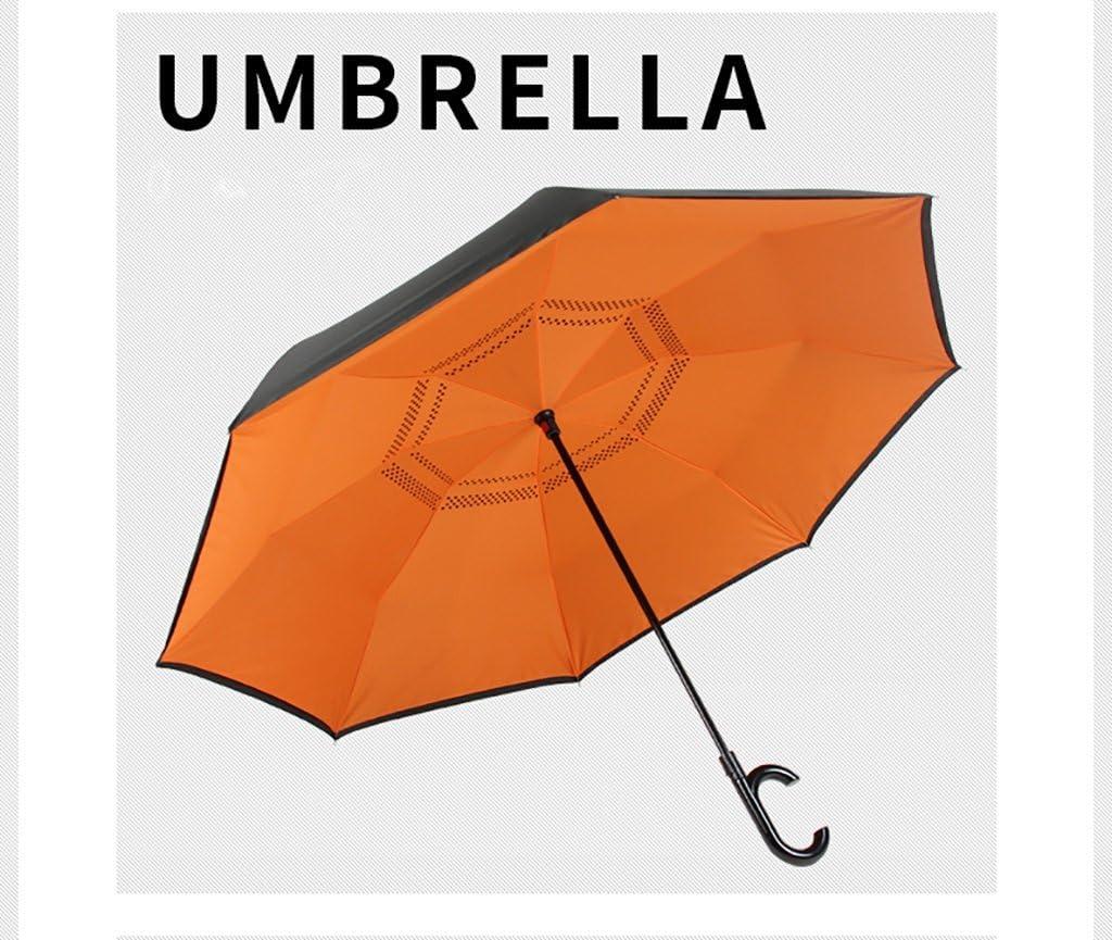 FKRAINSAN Umbrella Reverse Umbrella Hands-Free Car use Double Double XL Automatic Collection Sunny rain Long Handle Wind Resistance Color : A