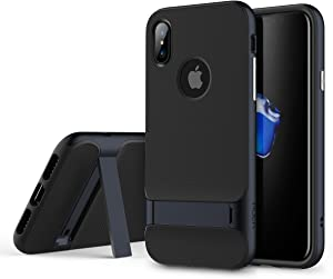 Rock Royce Stand Series Case, Dual Layer PC+TPU with Kickstand Shockproof Thin & Slim Case for iPhone X (Color : Navy Blue)