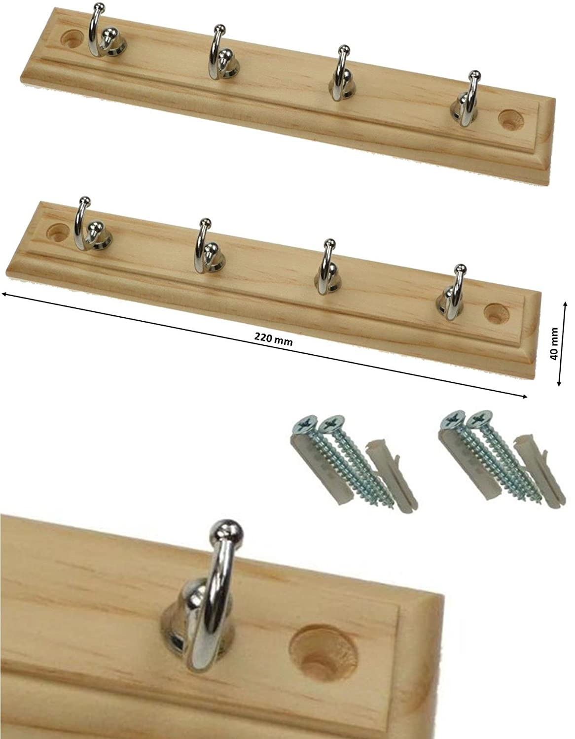2 X 4 HOOK HOOKS DOOR WALL SMALL WOODEN PINE PLAQUE COAT RACK STAND HANGER ogb