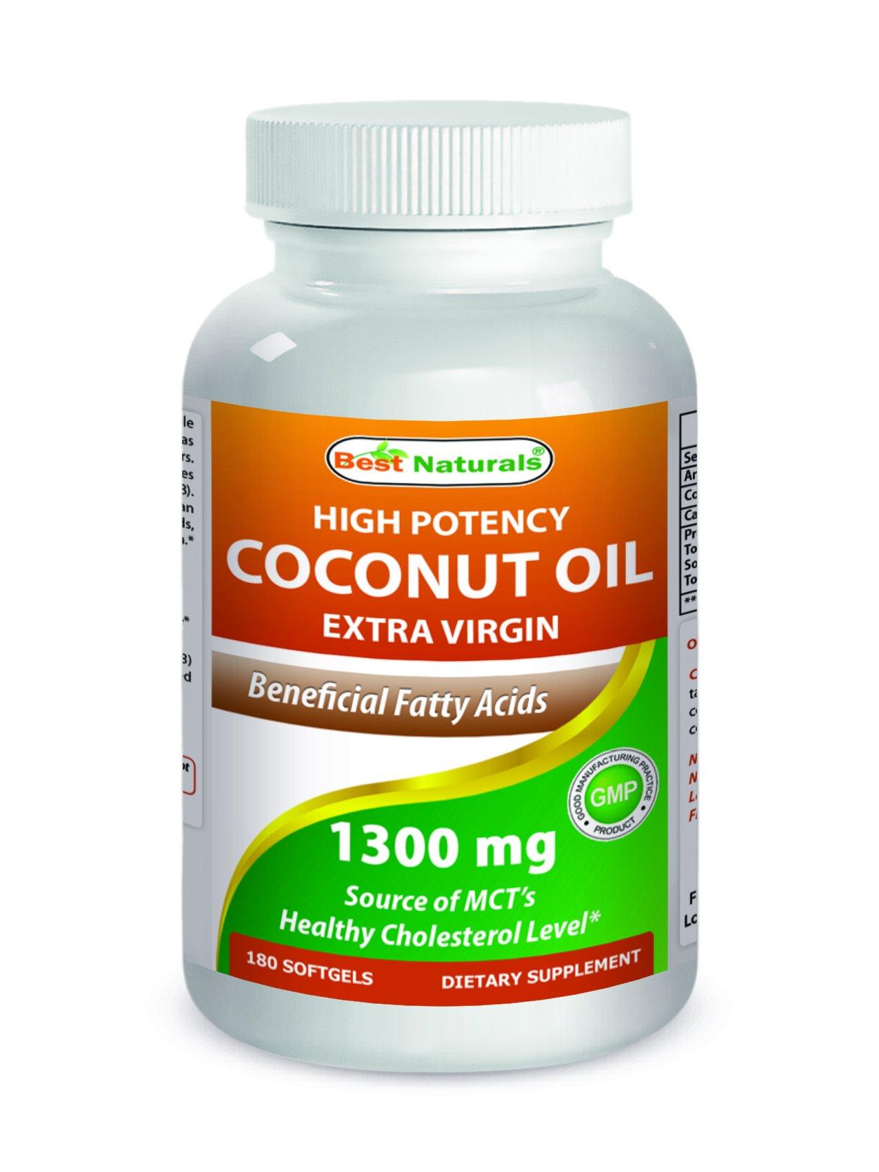 Best Naturals Extra Virgin Coconut Oil 1300 mg 180 Softgels