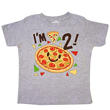 0e26ec5b2 inktastic - Im Two! Pizza Birthday Party Toddler T-Shirt 2T Heather Grey  2fdf5