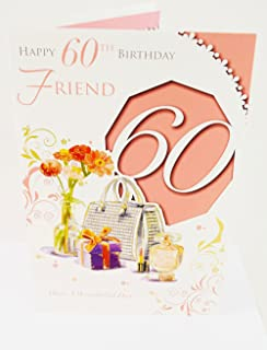 Happy 60th Birthday Friend Pink Elegant Girly Verse Quality 60 Greeting Card