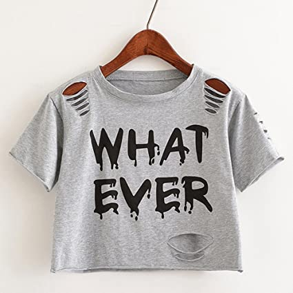 d40348c91ec4b2 Image Unavailable. Image not available for. Color: Women Sweet Crop Top  Holes T Shirt Hip Hop Letter Print Casual O Neck Tees Ladies