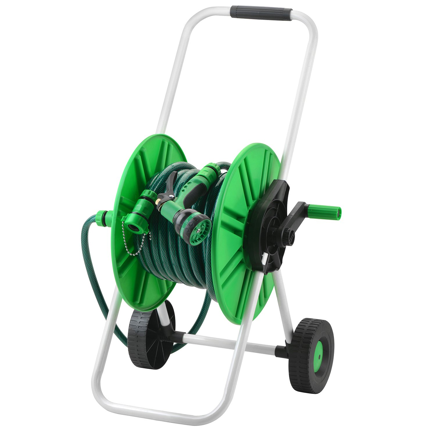 M PLUS Garden Hose Reel Cart with 65 feet | 5/8 Inch Hose And Quick Connecting Trolley Set