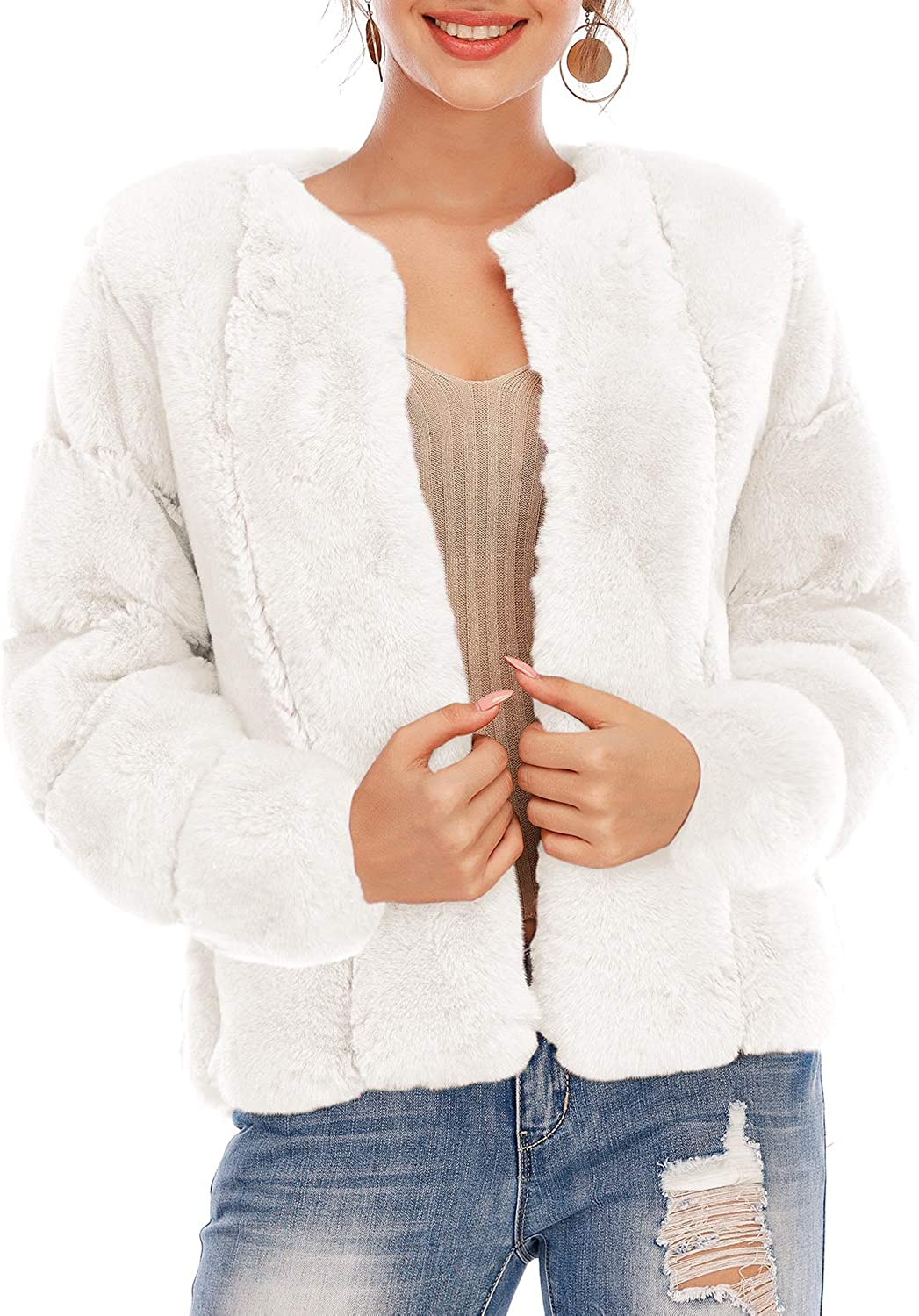 BerryGo Women's Long Sleeve Open Faux Coat Fuzzy Discount mail order Fur Now free shipping Front