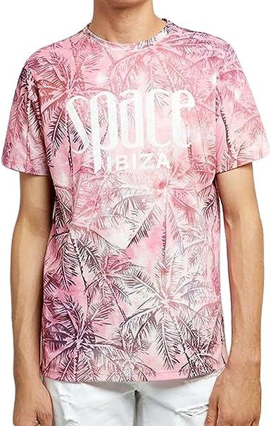 Space Ibiza Camiseta Hombre con Estampado de Palmeras en Toda la Prenda
