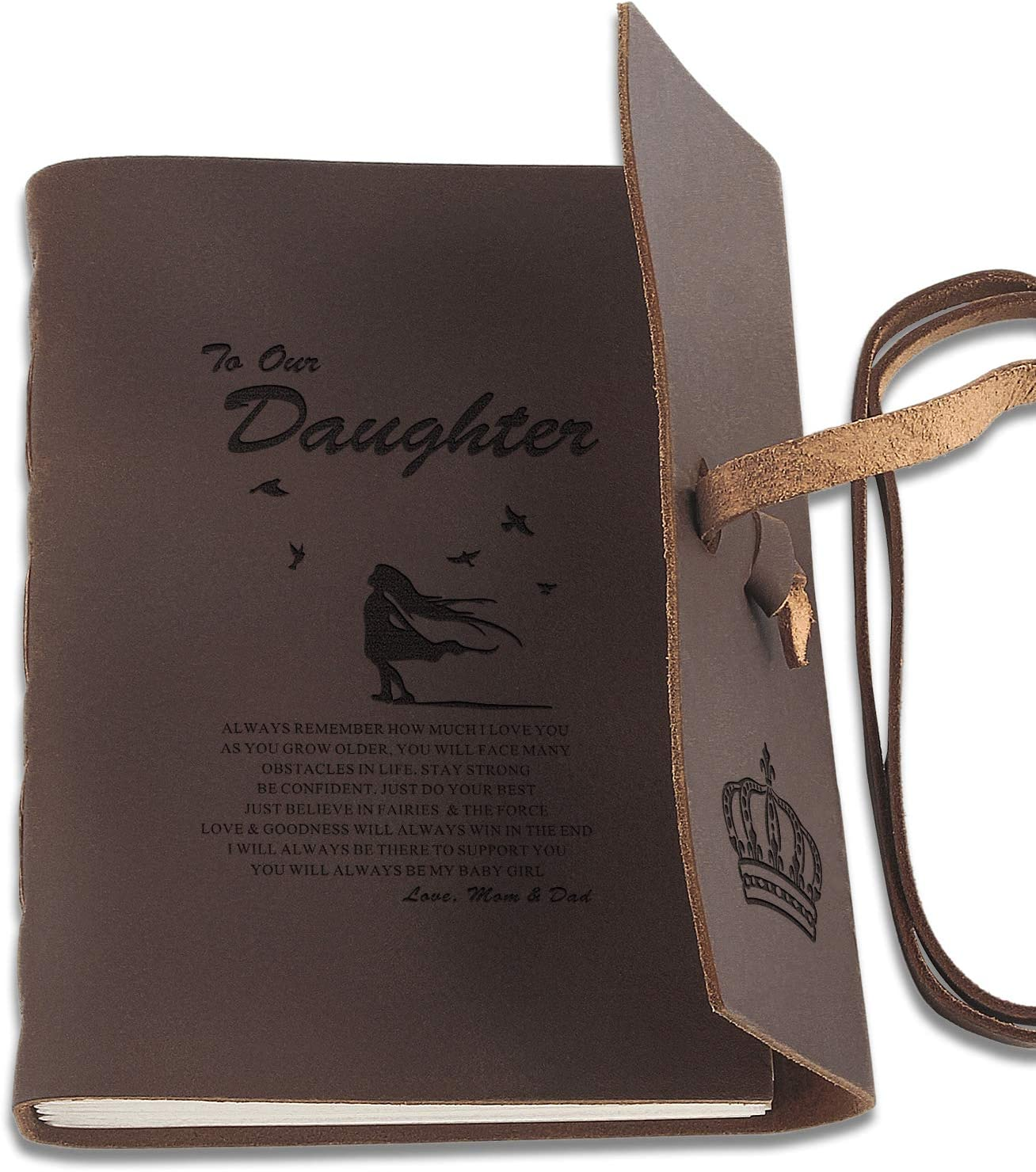 Custom Leather Journal Personalized Rustic Handmade Vintage Leather Bound Journals for Women Girls Unlined Paper 7x5 Inches Diary Notepad Gift Writing Notebooks Sketchbook Perfect Gifts for Daughter