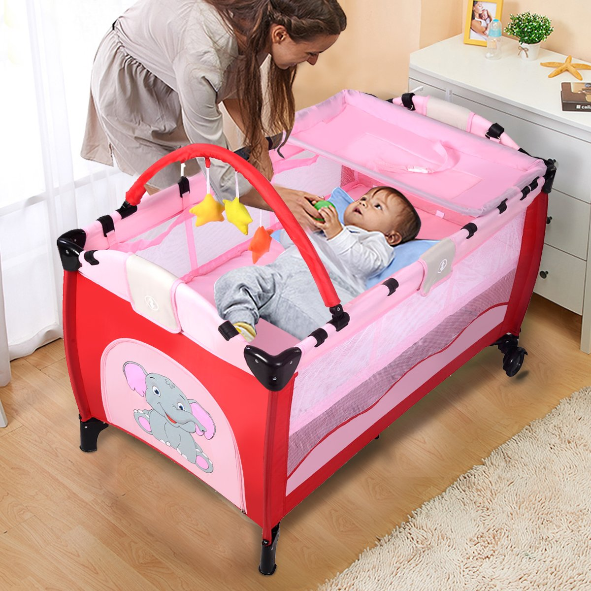Costway Portable Infant Baby Travel Cot Bed Play Pen Child Bassinet Playpen Entryway W Mat 2 in 1 Coffee
