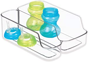 iDesign IDjr Storage Organizer with Two Compartments for Baby Bottles, Pouches, Food Jars for Pantry or Refrigerator - Clear
